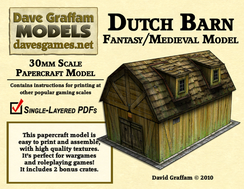 New fantasy/medieval 30mm papercraft models from Dave's Games