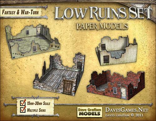 Low Ruins Paper Models Set - Dave Graffam Models | Ruins | Wargame Vault