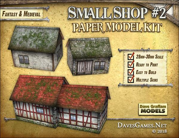 Small Shop #2 Paper Model Kit - Dave Graffam Models | Fantasy & Medieval |  Wargame Vault