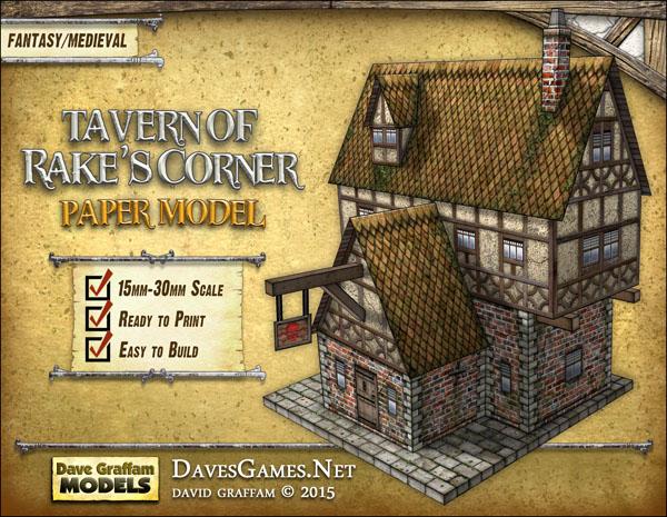 Tavern of Rake's Corner Paper Model - Dave Graffam Models | Rake's Corner |  DriveThruRPG com