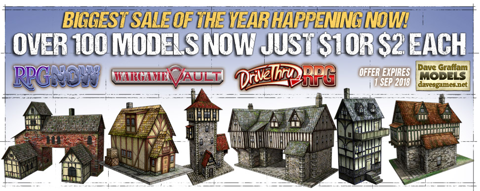 Cardstock model terrain kits on sale for just $1 or $2