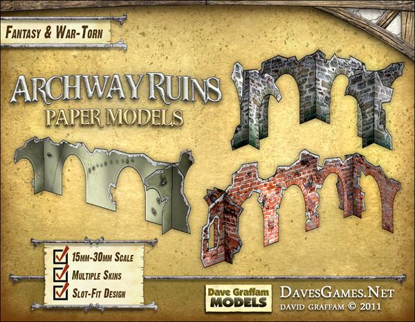Archway Ruins Set Paper Models - Dave Graffam Models | Ruins | Wargame Vault