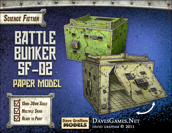 Battle Bunker SF-02 Paper Model - Dave Graffam Models | Sci-Fi | RPGNow com