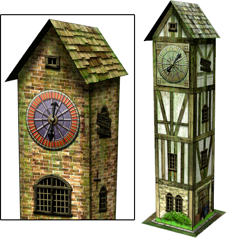 Clock Tower Paper Model - Dave Graffam Models | Fantasy & Medieval |  Dungeon Masters Guild