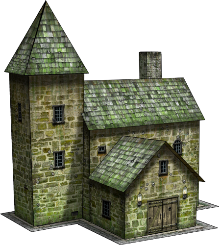 Country house paper model dave graffam models fantasy for Country craft house
