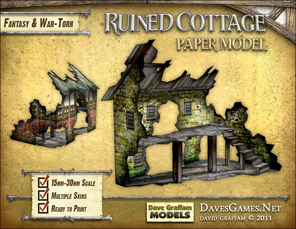 Ruined Cottage Paper Model - Dave Graffam Models | Ruins | Dungeon Masters  Guild